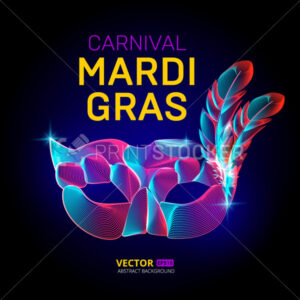Vector mardi gras venetian mask silhouette contour with feather in abstract 3d geometry lines texture and outline gradient waves vintage modern trendy graphic design illustration on dark background - PrintStocker.com