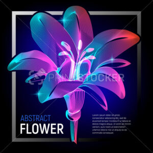 Vector natural flower or decorative plant with colorful abstract 3d shapes geometry lines texture and gradient waves floral vintage art petal beauty graphic design illustration on dark background - PrintStocker.com