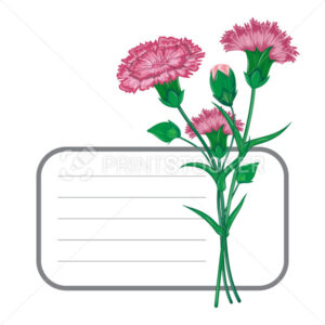 Vector red carnation or clove flower spring bouquet floral frame with place for text and purple garden blossom illustration isolated on white background Can be used on banner or greeting card design - PrintStocker.com