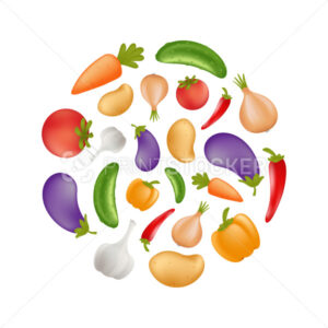 Vegetables icon set in a round shape – potato, carrot, cucumber, onion, pepper, tomato, aubergine, eggplant, garlic. Healthy vegetarian or vegan food. Vector illustration isolated on white background - PrintStocker.com