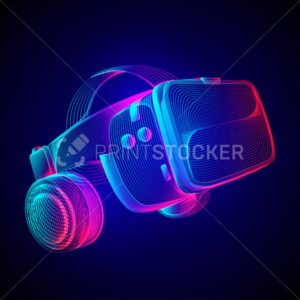 Virtual reality headset. Abstract VR helmet with glasses and headphones. Outline vector illustration of Augmented reality future technology concept in 3d line art style on neon abstract background - PrintStocker.com