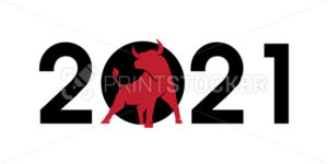 2021 numbers with a red bull silhouette, symbol of the year in the Chinese zodiac calendar. Vector illustration of a standing horned ox or an angus isolated on a white background - PrintStocker.com