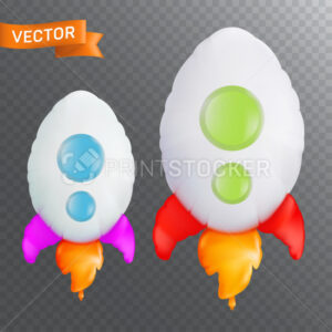 Balloon in the form of flying rocket with flame. Rocket launch or business startup symbol. Vector illustration isolated on a transparent background - PrintStocker.com