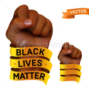 Black lives matter movement against racism. Vector protest poster or banner about human rights of black people in US with raised fist of African human and golden ribbon isolated on white background - PrintStocker.com