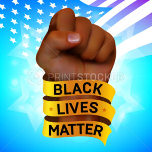 Black lives matter movement against racism. Vector protest poster or banner about human rights of black people in US with raised fist of African human and golden ribbon on American flag background - PrintStocker.com