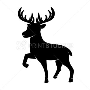 Black silhouette of Christmas horned reindeer in a minimal flat style. Vector illustration of a one single standing cute northern deer mammal animal mascot character isolated on white background - PrintStocker.com