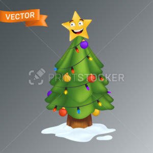 Christmas Tree decorated with a smiling yellow star, colorful light bulbs on a garland and decoration balls. Vector illustration of an evergreen pine with a trunk in snow isolated on a grey background - PrintStocker.com