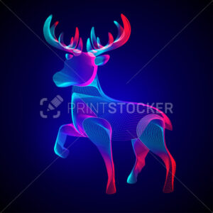 Christmas reindeer. Stylized silhouette of standing horned deer. Outline vector illustration of a wild animal in 3d line art style on neon abstract background - PrintStocker.com