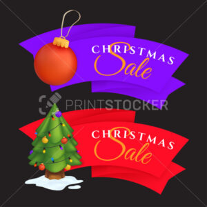 Christmas sale labels set with decorated evergreen tree and red decoration ball. Vector illustration of colorful festive tags or special offer banners isolated on a dark background - PrintStocker.com