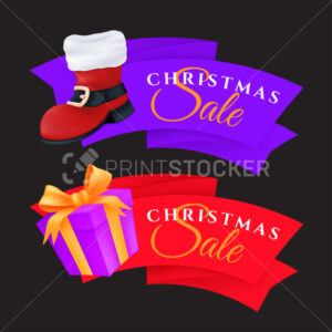 Christmas sale labels set with gift box and red Santa's boot. Vector illustration of colorful festive tags or special offer banners isolated on a dark background - PrintStocker.com