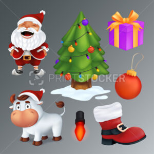 Christmas set includes a tree, gift box, red boot, garland lamp, ball, Santa Claus, white bull – a symbol of the year. Vector group of cartoon characters and decorations isolated on a grey background - PrintStocker.com
