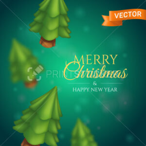 Christmas trees on a blurred green background. Cartoon pines with bokeh effect - PrintStocker.com