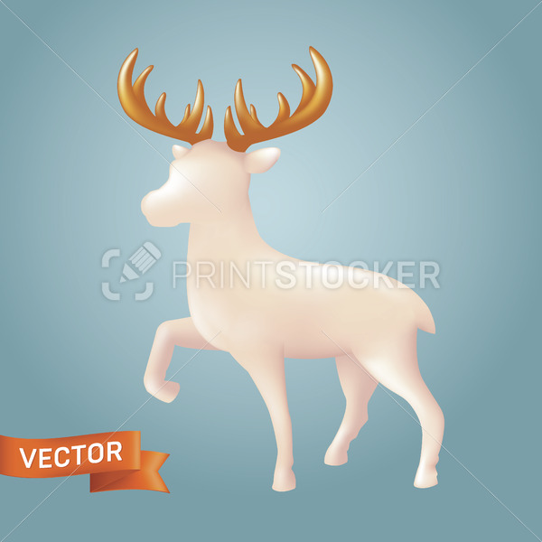 Christmas white reindeer in a realistic ceramic style. Vector illustration of Xmas porcelain decorative toy figure of a reindeer with golden horns isolated on a blue background - PrintStocker.com