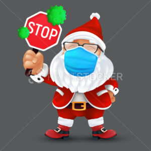 Cute Santa Claus wearing a surgical protective face mask and holding a stop sign with green virus cells. Vector illustration of a cute Christmas character in a traditional red costume - PrintStocker.com