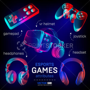 Cybersport games icon set – abstract VR helmet with glasses, headphones, gamepad, joystick. Outline vector illustration of different attributes for retro games and streaming in 3d neon line art style - PrintStocker.com