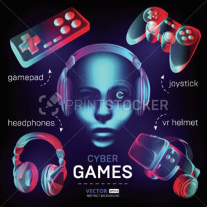 Cybersport games icons set – abstract VR helmet with glasses, headphones, gamepad, joystick and robot face. Outline vector illustration of different stuff for retro games in 3d neon line art style - PrintStocker.com