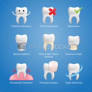 Dental icons vector set with different elements for various website services – dentistry, restorative, implants, porcelain veneers, orthodontic treatment, denture wearers, bridgework, cleaning, etc. - PrintStocker.com