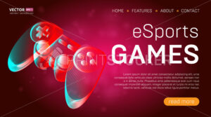 Esports games landing page template with a gamepad or retro game console controller banner. Outline vector illustration of wireless video game joystick in 3d line art style on abstract background - PrintStocker.com