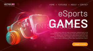 Esports games landing page template with a virtual reality headset with glasses and headphones or VR helmet banner design. Outline vector illustration in 3d line art style on abstract background - PrintStocker.com
