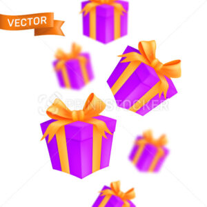 Falling wrapped gift boxes. Vector illustration of pink cardboard parcels with a gold bow and ribbon isolated on a white background - PrintStocker.com