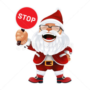 Funny cartoon Santa Claus in a red hat and glasses. Laughing and smiling Christmas character in traditional costume holding and showing a stop sign isolated on a white background - PrintStocker.com