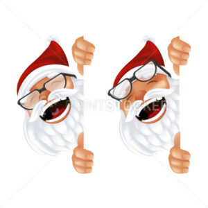 Funny cartoon Santa Claus in a red hat and glasses. Laughing and smiling Christmas character in traditional costume peeking from behind the vertical corner or a sign isolated on a white background - PrintStocker.com