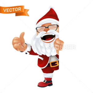 Funny cartoon Santa Claus in a red hat and glasses. Laughing and smiling Christmas character in traditional costume peeking from the corner or a sign and thumbs up isolated on a white background - PrintStocker.com