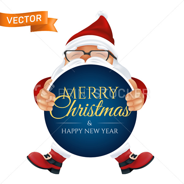 Funny cartoon Santa Claus in a red hat and glasses. Peeking Christmas character in traditional costume holding and showing a greeting card isolated on a white background - PrintStocker.com
