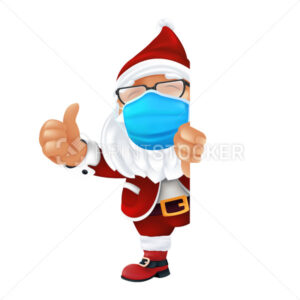 Funny cartoon Santa Claus wearing a surgical protective face mask. Laughing and smiling Christmas character in traditional costume peeking from the corner and thumbs up isolated on a white background - PrintStocker.com