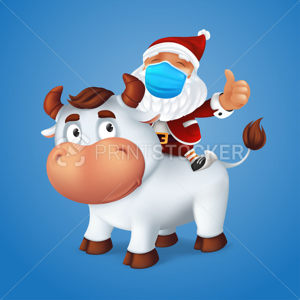 Funny silver Ox animal symbol of the year in the Chinese zodiac calendar with Santa Claus on his back wearing a surgical protective face mask. Cartoon vector illustration of Christmas characters - PrintStocker.com