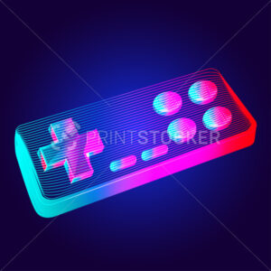 Gamepad – abstract retro game console controller. Outline vector illustration of wireless video game joystick in 3d line art style on neon abstract background - PrintStocker.com