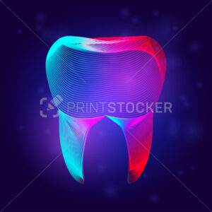 Human tooth medical structure. Outline vector dental illustration in 3d line art style on neon abstract background - PrintStocker.com