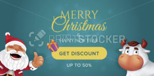 Merry Christmas and Happy New Year sale banner template. Background with realistic gift box, cute ox or bull and laughing Santa Claus. Vector illustration for get discount website horizontal header - PrintStocker.com