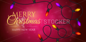 Merry Christmas and a happy new year banner with a colourful garland. Vector illustration of light bulbs on a blurred background with a bokeh effect - PrintStocker.com