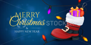 Merry Christmas and a happy new year banner. Red Santa Claus boot filled of a gift box and a ball toy with a colourful garland on it. Vector illustration on a blurred background with a bokeh effect - PrintStocker.com