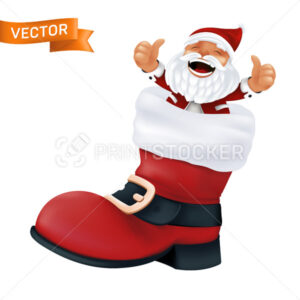 Red boot of Santa Claus with a white fur and a black belt with a golden buckle. Realistic vector illustration of a funny character and a Christmas footwear isolated on a white background - PrintStocker.com