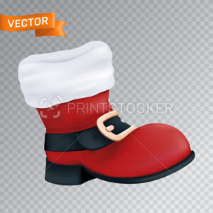 Red boot of Santa Claus with a white fur and a black belt with a golden buckle. Realistic vector illustration of an empty close up Christmas footwear isolated on a transparent background - PrintStocker.com