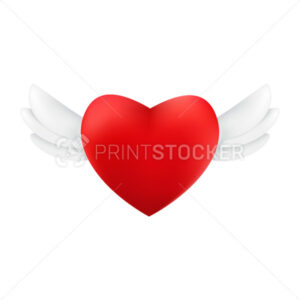 Flying red heart with wings. Vector illustration of the romantic love symbol isolated on a white background - PrintStocker.com