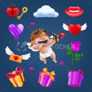 Saint Valentine's day icons set – little angel or cupid, flying heart with wings, red rose flower, pink balloon, gift box, letter, padlock, key, smiling lips, cloud. Romantic items vector collection - PrintStocker.com