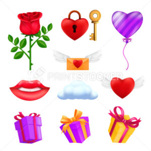 Saint Valentine's day icons set – red rose flower, flying heart, pink balloon, gift box, envelope, padlock with a key, smiling lips, cloud. Vector collection of romantic elements isolated on white - PrintStocker.com
