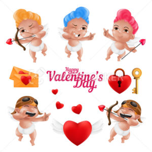 Smiling cupid and a cute little angel in a diaper characters vector set. Happy Valentine's Day funny cherub mascot collection in various poses isolated on a white background - PrintStocker.com