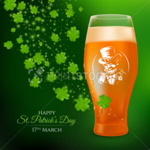 A glass with a pint of light beer decorated with the label of a smoking leprechaun and shamrock leaves. 3D realistic vector illustration to St. Patrick's Day celebrating on a dark green background - PrintStocker.com