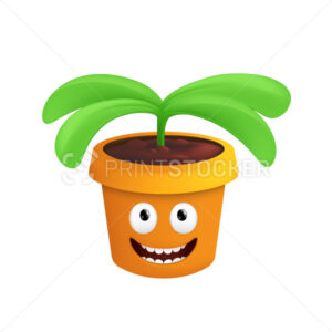 A growing plant in a pot. Vector illustration of a happy and smiling flowerpot with a joyful emotion isolated on a white background - PrintStocker.com
