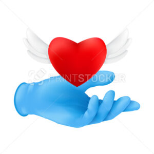A human hand wearing blue protective surgical glove with a flying red heart with angel wings. Vector illustration of donating or charity concept isolated on a white background - PrintStocker.com