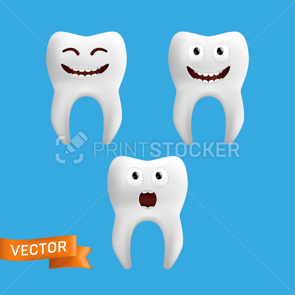 A set of cute tooth characters with different facial expressions. Vector collection of tooth emojis isolated on a blue background. Funny icons for children design - PrintStocker.com