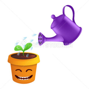 A spray of water drops from a metal watering can irrigate a green sprout in a flower pot. Vector illustration of plant care in a smiling and joyful pot isolated on a white background - PrintStocker.com