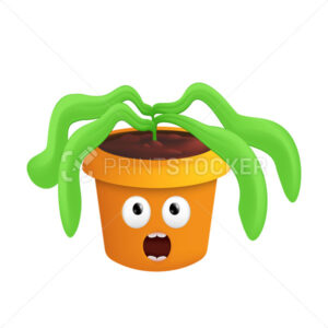 A wilted plant in a pot. Vector illustration of a sad flowerpot with a scared emotion isolated on a white background - PrintStocker.com