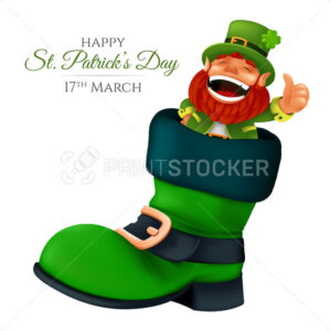 Cute bearded leprechaun peeking from the boot and showing thumbs up. Vector illustration of laughing dwarf mascot for Saint Patrick's Day isolated on a white background - PrintStocker.com
