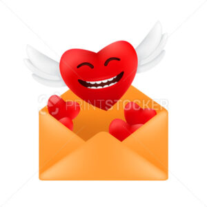 Cute flying heart with angel wings out of an envelope. Vector illustration of a red heart with funny facial emotion to Valentine's day isolated on a white background - PrintStocker.com