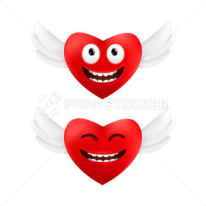 Cute flying hearts with funny facial emotions to Valentine's Day. Vector set of two red hearts with angel wings isolated on a white background - PrintStocker.com